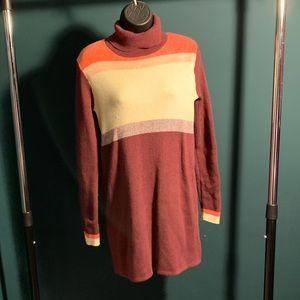 NWOT Free People maroon/cream/orange sweater dress